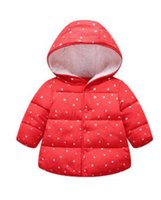 Wholesale cotton blends kids outwear coats online - Baby boys girls thicken warm coat baby girl winter cotton padded clothes Children Clothing kids point outwear baby girl s jacket coats