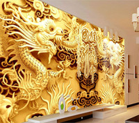 Wholesale Wallpaper Golden - 3D Golden Dragons Photo Wallpaper Woodcut Wall mural Chinese style wallpaper Art Room decor Kids Sofa background wall Restaurant Decoration