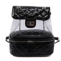 Wholesale ladies leather laptop - 2018 Luxury leather designer bags clear bag transparent backpacks handbag lady Backpack Laptop Sac à main girl Women 4colors