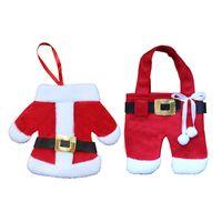 diseños de cuchillo tenedor al por mayor-Pantalones de ropa de Santa Claus Diseño Cuchillo y tenedor Bolsillos Cubiertos de cubiertos Cubiertos de vajilla Cena de Nochebuena Decoración de mesa Decoraciones de Navidad