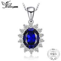 ingrosso kate diana-JewelryPalace Kate Princess Diana William 2,5 ct Blue Sapphire Ciondolo in argento sterling 925 gioielli ciondolo per le donne regalo