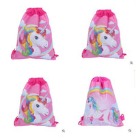 4c5ea5ddf367 boy school bag free NZ - Drawstring Bags Girls Boys Backpacks Unicorn Non  Woven Kids Sling