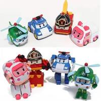 autos großhandel-Robocar Poli Verformung Roboter Auto Spielzeug Umwandlung Roboter Charakter Verformung Roboter Verformung Auto Mann Modell Kinder Geschenk LKW 4pc
