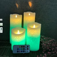 Wholesale color changing candles remote - Embossed Texture Moving Wick Remote Control Wax Candles Home Decoration Color Changing Dancing Flame Candles