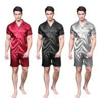 camisones masculinos al por mayor-TonyCandice Satin Silk Pijamas Shorts para hombres Rayon seda ropa de dormir verano conjunto pijama masculino suave camisón para hombres pijamas