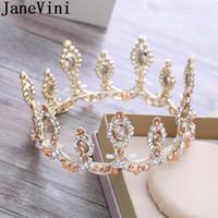prenses taç dekorasyonları toptan satış-JaneVini Prenses Taçlar Kristal Boncuklu Kadınlar Düğün Taçlar Tiaras Tatlı 16 Parti Saç Süslemeleri Gelin Takı Saç Süsler Gelin 2018