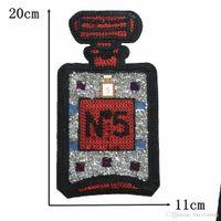 parfüm giysileri toptan satış-Büyük Pul Yama Giysi Çıkartmalar Için Parfüm Şişesi Demir Aplike Aplike Kumaş Dikiş Aksesuarları Nakış Yama Çıkartmaları