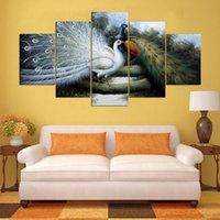 Wholesale peacock oil painting modern - Modular Pictures HD Printed Abstract Wall 5 Panel Anime Peacock Painting Home Decoration Posters Artwork Frame Living Room Modern