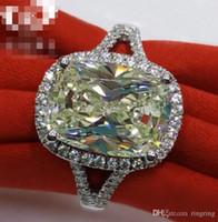 moissanite düğün yüzükleri kadınlar toptan satış-3.85CT Katı 925 Ayar Gümüş Düğün Yıldönümü Moissanite Yüzük Seti Nişan Band Moda Takı Erkekler Kadınlar Drop Shipping