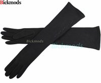 Wholesale gloves computer - 2017 New Female Long Knitted Gloves High Elastic Material Computer Embroidery Style Plus Velvet Warm