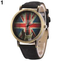 печатные браслеты оптовых-reloj hombre 2018 унисекс старинные бронзовые джинсовая группа Великобритании флаг гитара печати аналоговые Кварцевые наручные часы мужские часы