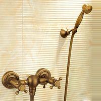 kits de cabeça de chuveiro venda por atacado-Antique Brass Banheiro Bath Wall Mounted Hand Held Cabeça de Chuveiro Kit Torneira Do Chuveiro Conjuntos