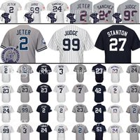 Wholesale Mantle Man - 99 Aaron Judge 27 Giancarlo Stanton 2 Baseball Jersey 24 23 Don Mattingly 3 Babe Ruth 7 Mickey Mantle Mariano Rivera Bernie Williams Jerseys