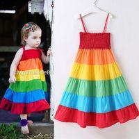 vestidos de colores del arco iris al por mayor-Las niñas bebés Vestidos de arco iris Sujetador elástico Faldas Liguero Colorido Patchwork Rainbow Beach Dress Verano Niño Niños algodón Outfit 18M-7T