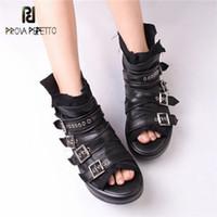 kriechpflanzen sandalen großhandel-Prova Perfetto Peep Toe Frauen Sommer Stiefel Aus Echtem Leder Plattform Creepers Weibliche Gladiator Sandalen Ankle Booties Flache Schuhe