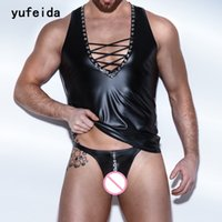 Wholesale Metal Tights - Wholesale- YUFEIDA Men Sexy Tops Tees Tight Undershirts Bandage Faux Leather Shiny Metal Corset Gay Vest Adult Outfit Undershirts And Thong