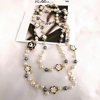 cadena de semillas de melón al por mayor-Mimiyagu de lujo colgante de perlas de colores carta 5 mujeres colgantes de alta calidad collar de cc de la joyería