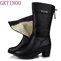 stiefel fell innen großhandel-Winterstiefel Wolle Pelz Innen Warme Schuhe Frauen High Heels Echtem Leder Schuhe Handgemachte Schneeschuhe Schuhe Botas