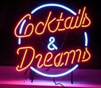 Wholesale cocktail dreams neon sign resale online - 24 inch Cocktails and dreams DIY Glass Neon Sign Flex Rope Neon Light Indoor Outdoor Decoration RGB Voltage V V