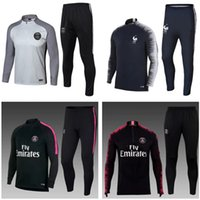 Wholesale psg jacket - Paris Soccer tracksuit set 2018 France Training suit 18 19 MBAPPE NEYMAR JR LUCAS Saints Football psG jacket kit Germain tracksuits