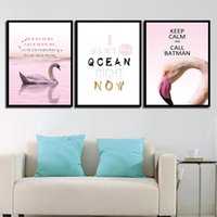 Wholesale arts swans resale online - Wall Art Prints Minimalism Poster Canvas Trumpeter Swan Nordic Painting HD Pictures Living Room Kids Room Home Decoration