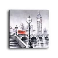 Wholesale city bridge paintings - 1PCS Framed Monochrome Modern Style Abstract Modern Style City Building Bridge Wood Framed Lnkjet Spray Printing