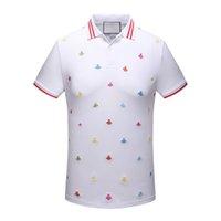 Wholesale Funny Polo Shirt - Mens Embroidery Short Sleeve High Quality Men T-Shirt Tees Mens Polo Shirt Funny Casual Slim Tops Tees