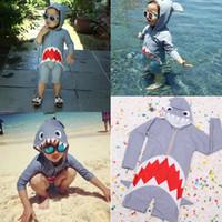 sevimli korean mayo toptan satış-Sevimli Köpekbalıkları Karikatür Mayo Kore Yeni Gelenler Bebek Mayo Plaj Çocuklar Uzun Kollu Yüzmek Mayo