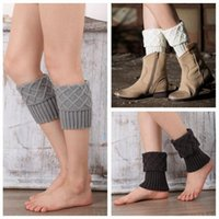 Mujeres Invierno Calentadores de la pierna Crochet Boot Socks Toppers Cuffs Warm Chirstmas Foot Cover Calcetines 2pcs / pair 10 colores OOA3863