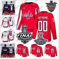 Wholesale capital names - Custom Washington Capitals Hockey 2018 Stanley Cup Final Champions Jersey Stitched Any Number Name Navy Red White Caps Ovechkin Oshie S-4XL