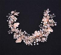 başörtüsü taç saç aksesuarları kafa bandı toptan satış-Rose Gold Kafa Düğün Gelin Çiçek Taç Tiara Kristal Rhinestone Saç Aksesuarları Bant Takı Prenses Kraliçe başlıkiçi Headdress