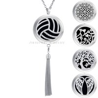 Wholesale tassel fringe necklace - Wholesale 316L Stainless Steel Volleyball Essential Oil Tassels Diffuser Locket Aromatherapy Fringe Dangle Perfume Necklace Drop Shipping