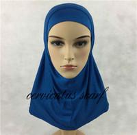 гладкие джерси-шарфы оптовых-Free Fast Shipping Plain Amira Hijab For Kids 2 Pcs Pure Color Muslim Cotton Jersey Scarves Islamic Clothing Khimar Jilbab