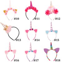 Wholesale girl cat ears headband resale online - Fashion Unicorn Headband Party Supplies Girls Chiffon Flowers Hairband Kids Cosplay Crown Children Birthday Party Cute Cat Ears WX9