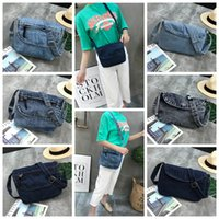 Wholesale cowboy shoulder bag resale online - Women Retro Shoulder Bag Persoanl Demin Flap Cover Cross body Bag Ladies Zipper Cowboy Phone Waist Bag DDA645 Colors