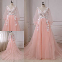 Wholesale Green Lanterns Light - Latest Princess Party Prom Dresses V-neck Lantern Sleeves Long Formal Evening Dresses Chapel Train Tulle Robes De Soiree