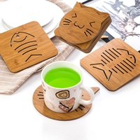 Wholesale wood hot pads - Wooden Dining Mats Pads Hollow Cartoon Modeling Non-slip Pot Bowl Mats Kitchen Thickened Anti-hot anti-skid Insulation Pads HH7-370