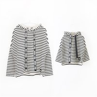 Wholesale Korean Clothing For Children - Korean boutique mother and daughter clothes striped hooded children T-shirt with long wide printed black band for girls