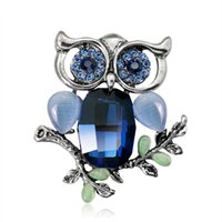 Wholesale antique silver brooches - Big Eyes Crystal Owl Brooch Antique gold silver Color Animal Bird Pins Dress Clothing brooches Accessories Collar Clip Dress Decor 370009