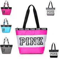 Wholesale pink shopping - Fashion Women Pink Letter Handbag Shoulder Bags Ladies Girls Large Capacity Travel Waterproof Duffle Beach Shopping Shoulder Bags Tote