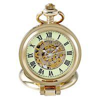 ouro fob relógios venda por atacado-Dom Orkina Homens Mulheres Steampunk Skeleton Mecânica ouro Vento mão relógio relógio de bolso Fob Magnifier Pocket Watch Luminous Nova