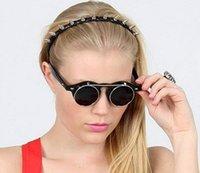 lunettes de soleil goth achat en gros de-150 pcs Nouveau Steampunk Goth Lunettes De Soleil En Plein Air Ronde Métal Lunettes Rétro Cercle Flip Up UV400 Lunettes 4 couleurs 200 pcs