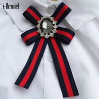 Wholesale vintage black rhinestone brooch - i-Remiel 2017 Real Trendy Brooches For Women Broches The New Joker Handmade Fashion Bow Vintage Brooch Cloth Pin College