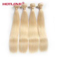 14-дюймовые светлые волосы оптовых-HOTLOVE Hair Company Бразильские девственные прямые человеческие волосы От 12 до 24 дюймов 4 шт. / Лот Реми Плетение волос 613 блондинов