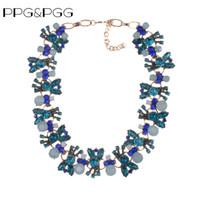 ingrosso choker blu del rhinestone-PPGPGG Fashion Z Luxury Blue Rhinestone Statement misto cristallo Chunky Catena Choker Bib collane gioielli pendenti