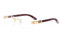 Wholesale marque sunglasses resale online - 2016 new Sunglasses Men rimless Glasses gold Wooden Feet Metal Frame brown Buffalo Horn lunettes de soleil de marque