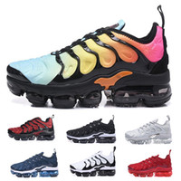 Wholesale camping packs online - 2018 NEW VM TN Plus Olive In Metallic White Silver Colorways Shoes Men Shoes For Running Male Shoe Pack Triple Black Mens Shoes