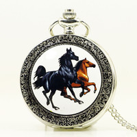 карман для старинных женщин оптовых-Antique Bronze Orologio Taschino Horse Quartz Pocket Watch Necklace Chain Pendant Womens Men Watches Best Gifts PB353