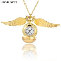 Wholesale harry potter balls for sale - Luxury Gold Ball Wings Quartz Pocket Watch Golden Snitch Harry Potter Cosplay Gift Watch Necklace Chain Unisex Reloj de bolsillo