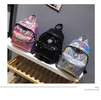 Wholesale sports bling wholesale - 3styles Women Holographic Backpack Laser Sport Bags Fashion Style Bling Shining Backpack Girls Shoulder Bags FFA488 12PCS